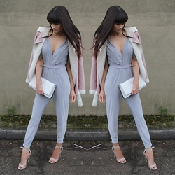 Victoria Rose - Missguided Bliss Faux Shearlig Coat, Closet 411 Jumpsuit, Public Desire Nude Court Heels - Closett 411