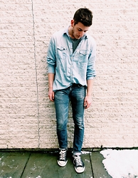 Alex Cohen - Thrifted Oversized Chambray Button Up, 21men Grey Tee, Levi's® Skinny Jeans, Converse Lowtops - Denim on denim for days