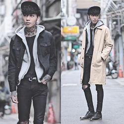 IVAN Chang - Tastemaker 達新美 Trench Coat, Vintage Black Jacket, Asos Top, Topman Ripped Skinny Jeans, Opustwo Oxford Shoes - 110215 TODAY STYLE