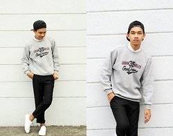 Domenic Perelonia - Thrifted Gray Vintage College Sweater, Black Trousers, Basic White Sneakers, Black Snapback, Armani Exchange White Button Down - #TeamCozy