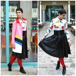 Miss Dee STyle - Choies Color Block Coat, Choies Birds Printed Shirt, Choies Faux Leather Skirt, Second Hand Leather Waist Belt - Baby Pink