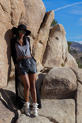 Ria Michelle - Express Matador Hat, Adriano Goldschmied The Wren Tank, Monki Faux Leather Shorts, Isabel Marant Scarlet Leather Suede And Calf Hair Wedge Boots, Elliatt Duster - Way Up In Palm Springs