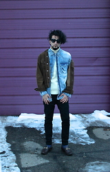 Tah ∆li - Lost & Found Vintage Black Cat Eye Sunglasses, Drill Custom Distressed Button Down, Levi's® Levi's Brown Corduroy Jacket, Ralph Lauren Cream Vintage Turtle Neck Sweater, I Love Ugly Black Ralph Pants, Calvin Klein Light Speckled Socks, Gucci Burgundy Loafers - Lavender Libido