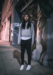 Theresa O. - Acne Studios Sweatshirt, La Made Tee, R13 Denim Jeans, Common Projects Sneakers - On Repeat