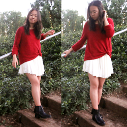 Shirley M - Ross Red Sweater, Forever 21 White Dress, Steve Madden Black Chelsea Boots - Affinity