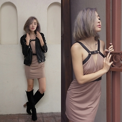 Ruby Park - Oak Rider Peforated Leather Jacket, Tobi Taupe Leather Buckle Dress, Dolce Vita Boots - Valentines Day Lookbook Outfit 1
