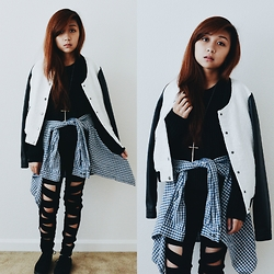 Sarah D. - Charlotte Russe Varsity Jacket, H&M Checkered Shirt, Topman Cross Necklace, Hot Topic Pants - Street Style