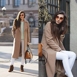 Larisa Costea - Romwe Sweater, Missguided Coat, Free People Sunglasses, Jessica Buurman Bag - Pastels and nudes