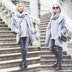 Gema L - Missguided Coat, &Other Stories Bag, Asos Jeans, Zara Boots - 50 shades of grey with Velvet Parsnips