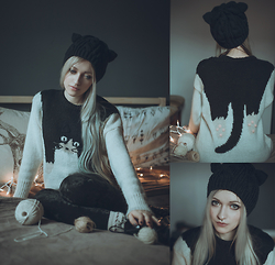 Anya Anti - Romwe Hanging Cat Sweater, Cat Ears Hat - Purrfect caturday