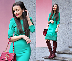 Lucine A - Waggon Paris Green Dress, River Island Shoulder Bag, Dune London Knee High Boots - Be My Valentine!