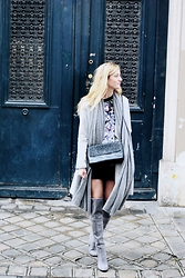 Laugh of Artist - Gat Rimon Blouse, Choies Hight Boots, Mango Coat, Zara Skirt, Zara Bag - Shades of Grey