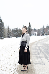 Sandy Joe Karpetz - Vintage Suede And Leather Midi Skirt, Burton Striped Blouse, Alexander Wang Leather Strappy Heels, American Eagle Outfitters Grey Wool Sweater - Winterlude