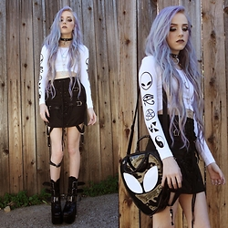 Kirsten Vogel - Myvl Clothing Symbols Crop, Unif Garter Skirt, Kill Star Purse, Demonia Torment Boots - Me You Vs Life