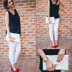 Jenna Marie - Boohoo Red Bow Heels, Ebay White Clutch, Ebay Gold Arrow Flash Tattoo, Thrifted Black Sleeveless Top, Can't Remember White Skinny Jeans, Thrifted Vintage Ring, Ebay Gold Bangle, Lovisa Gold Rope Necklace - Classic black and white. And red. And gold.