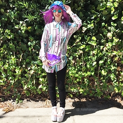 Kate Hannah - Tibbs & Bones Cloud Bucket Hat, Ichi Knee Sushi Earrings, Maude Studio Diamond Deluxe Bag (Iridescent Candy Pink), Lazy Oaf Pastel Bricks Top, Yru Pulse Platforms - Purple Pixie