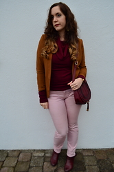 Sarah M - H&M Blazer, Broadway Nyc Fashion Sweater, Dailylook Satchel Bag, H&M Pants, Pikolinos Ankle Boots - Cognac & Burgundy