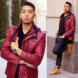 Gary Agunos - Michael Kors Watch, Members Only Leather Jacket, H&M V Neck, Timberland Tan Boots, Express Blue Jeans - Valentines Day 2015