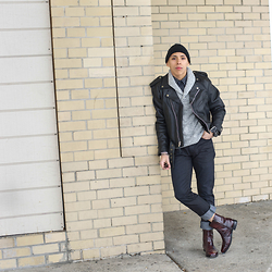 Kenneth Quinn - Zara Hat, Express Shirt, Express Sweater, Schott Nyc Leather Biker Jacket, Armani Exchange Jeans, Steve Madden Boots - No matter what you do never give up!