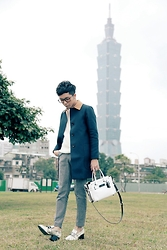 Curtis Yu - Coach Coat, Dresscodetw Trousers, Dresscodetw Loafers, Coach Swagger Bag - Taipei 101