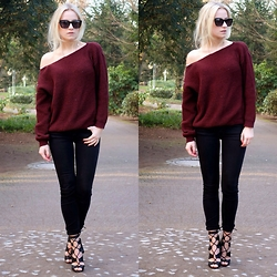 Miriam Mache - Missguided Sweater, Pull & Bear Pants - Off the shoulder sweater
