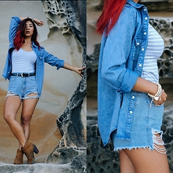 Jessie Khoo - Target Long Sleeve Denim Shirt, Target Basic Singlet, A Brand High Relaxed Shorts, Boots, Boots - Rocky