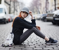 Ebba Zingmark - Nike Sweater, Stella Mccartney Hat, Junkyard Jeans, Nike Sneakers, Forever 21 Seethrough Bag - Where the lights don't move and the colors don't fade