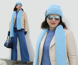 "Teresa Leite - Tany Couture Self Knitted Beanie, Tany Couture Self Knitted Scarf, Tany Couture Self Made Blue Wide Pants, Zara Beige Biker Jacket, Zara Wool Knit Cardigan, Lanidor Cobalt Blue Leather Gloves, Mango Blue ""Doctor"" Bag, Massimo Dutti Silver Mirrored Aviators - The Dream of the Blue Turtles"