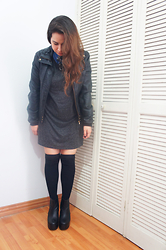 Nelly Ojeda - H&M T Shirt Dress, Bershka Leather Jacket, Thrifted Denim Button Up, Local Boutique Knee Highs, Perugia Chunky Boots - 3 Ways to Style the T-Shirt Dress