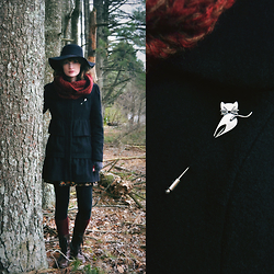 Anna C. - Vintage Cat Pin, Shop Ruche Circle Scarf, Thrifted Coat, Floppy Wool Hat - Dark February