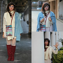 Surbhi Suri - Knitted Scarf, Denim Jacket, Boots, Forever New Lace Dress, Madame Fashion Lace Jacket, India Circus Printed Bag - Lace N Blush