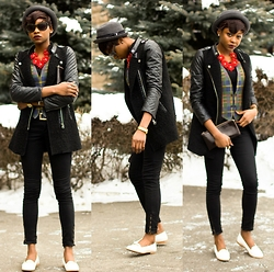 Melody Jacob - Happiness Boutique Statement Necklace, Sheinside Jacket, Boohoo Flats - STATEMENT NECKLACE WITH HAPPINESS BOUTIQUE