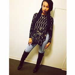 Tkeyah Grier - Forever 21 High Waisted Jeans, Target Necklace, Charlotte Russe Thigh High Heels, Thrifted/Hamdmade Shirt - Casual look