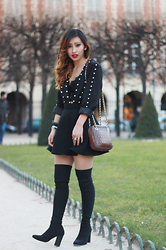 Rosa Pel - Boohoo Studded Jacket, H&M Skater Skirt, Tara Jarmon Thigh High Boots - The perfect thigh boots