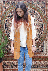 Sarah Nicola Louise - Adorned Tan Waistcoat, Vintage Indian Shirt, River Island Aztec Jeans, Adorned Fairtrade Indian Cotton Throw - 70s