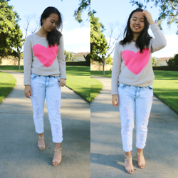Shirley M - Forever 21 Heart Sweater, Forever 21 Bleached Boyfriend Jeans, Nine West Nude Strapped Heels - High Hearts