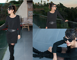 Initials LA - The Kooples Little Black Dress, Stuart Weitzman Over The Knee Boots, Urban Outfitters Sunglasses - Hollywood Girl