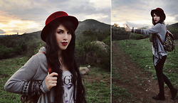 Melina DeSantiago - Wine Red Wool Bowler Hat, Thrifted Bohemian Cardigan Sweater, Gold Studded Camo Backpack, Divided Faux Suede Black Oxfords - Far from Home