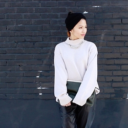 JiangJiang - Thrifted Sweater, Forever 21 Necklace, Asos Headwrap, Forever 21 Pants, Aldo Clutch - Cozy sweaters