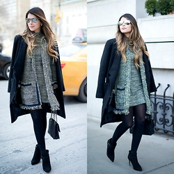 Pam Hetlinger - Topshop Tweed Cardigan, Topshop Tweed Dress - NYFW Look 2