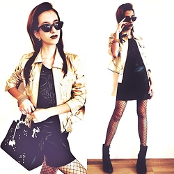 Maria Petrova - Radley Bag, Mango Skirt, Stradivarius Jaket, Karen Millen Blouse - Gold leather