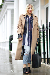 Joanne Christina Lewis - Missguided Camel Coat, River Island Girlfreind Jeans, New Look Mules - LIGHT WASH DENIM JEANS