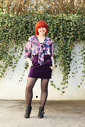 Jamie Rose - Target Floral Print Top, Forever 21 Purple Velvet Mini Skirt, Betsey Johnson Polka Dot Tights, Black Ankle Boots - Purple Velvet and Floral