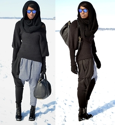 Sushanna M. - Zerouv Blue Reflective Sunglasses, Thrifted Black Bell Sleeve Sweater, Black & White Houndstooth Harem Pants - Grey Area