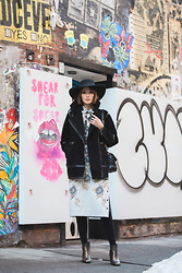 Ania B - Bcbg Janne Top, Rebekka Hat, Rebekka Skirt, Proenza Schouler Sp11 Bag, H&M Coat, Zara Boots - NYFW: day 1