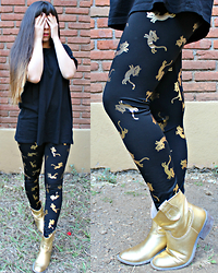 Karen Cardiel - Golden Cats Leggings, Golden Cowboy Boots, H&M Black Basic Tshirt, Ombre Long Hairstyle - 快樂中國新年 // Happy Chinese New Year