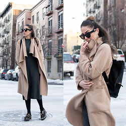 Alison Liaudat - Zara Camel Coat, Sandro Shoes Leopard, Hare Backpack, Céline Sunglasses - STROLLING AROUND IN BROOKLYN