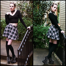 Ash Stash - Forever 21 Crop Top, Born Pretty Jewelry & Accessories Lace Necklace, Dunnygun Body Jewelry Shell Plug, Forever 21 Tartan Skirt, Sock Dreams Thigh High Socks, Declared Spike Heelless Platforms - Panda Bunz