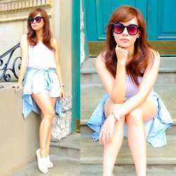 Jannelle O. - Zerouv Round Sunnies, Forever 21 White Romper, Cotton On Denim Polo, Forever 21 Basic Sneakers - Almost Summer!
