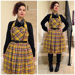 Badia Cupcake - Target Faux Leather Collar Shirt, Innocent World Antique Tartan Jsk - Embracing the color of mustard